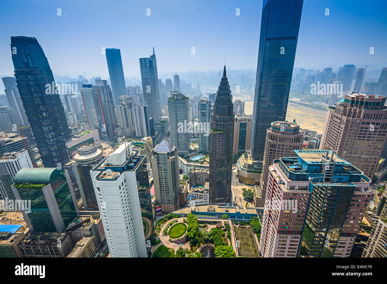 Chongqing, China financial district aerial skyline. - Stock Image