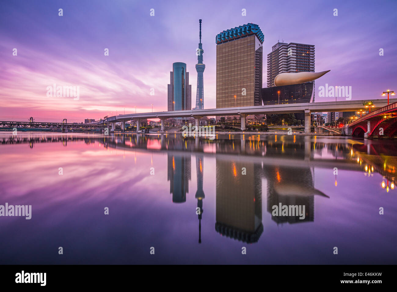 Tokyo, Japan skyline on the Sumida River. - Stock Image