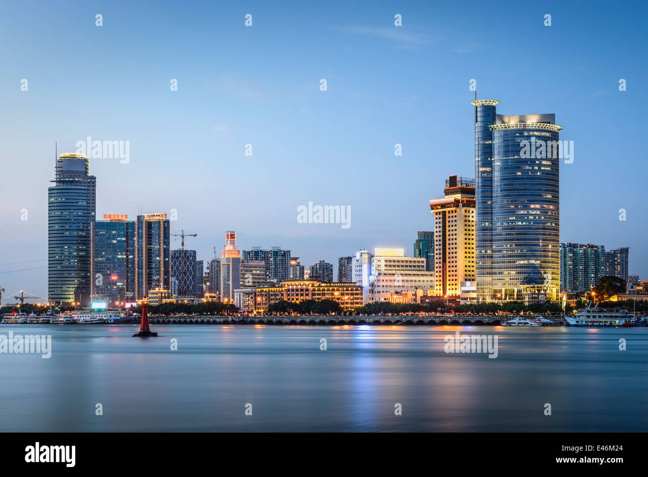 Xiamen, China skyline at twilight. - Stock Image
