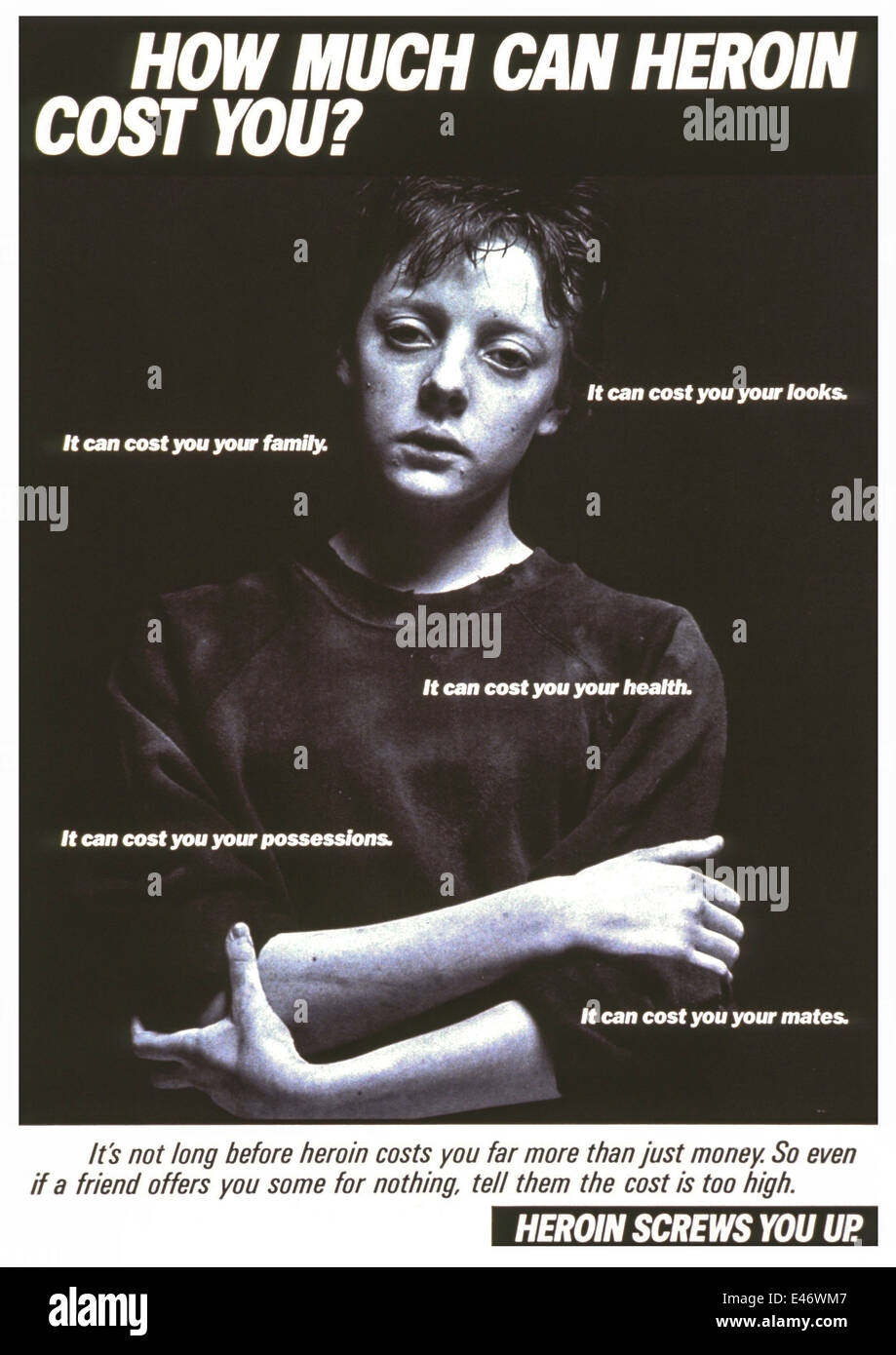 "Part of the ""Heroin Screws You Up"" drug awareness campaign. 1986 poster featuring a young male addict. Stock Photo"