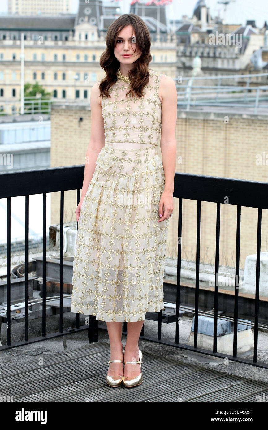 Keira Knightley attending a photocall for 'Begin Again', London. 02/07/2014 - Stock Image
