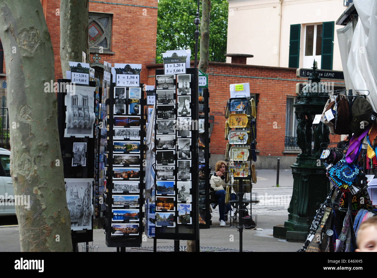 shop with postcards in Paris - Stock Image