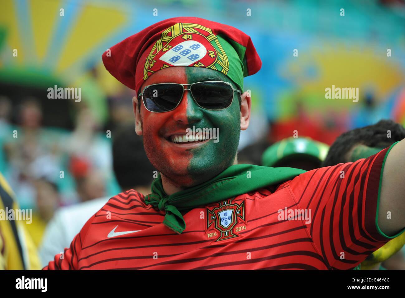 WM 2014, Salvador da Bahia, portugiesischer Fan, Deutschland vs. Portugal. Editorial use only. - Stock Image