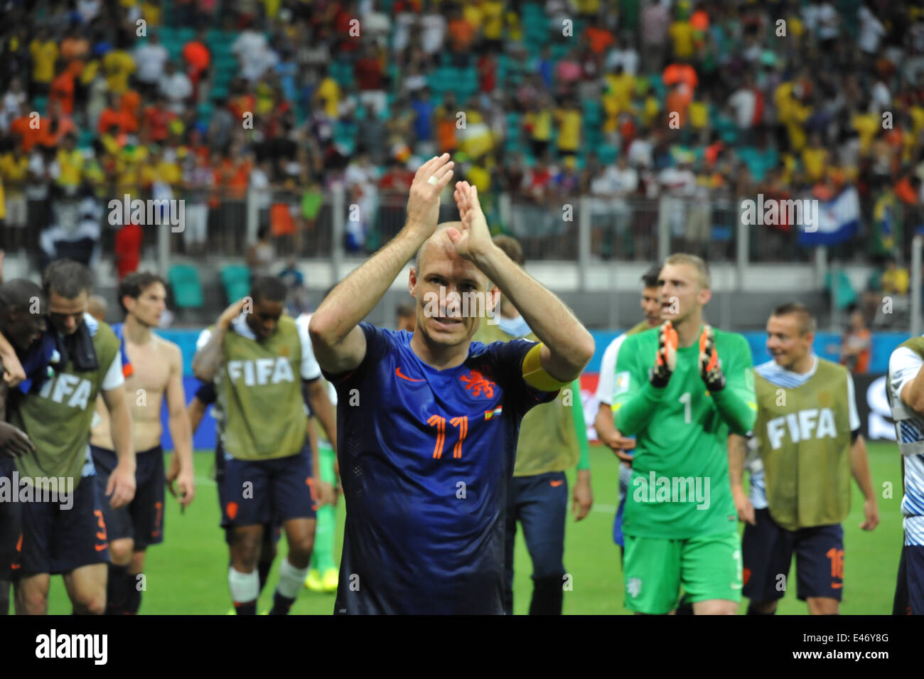 WM 2014, Salvador da Bahia, der zweifache Torschütze Arjen Robben nach dem Spiel, Holland vs. Spanien (5:1). - Stock Image