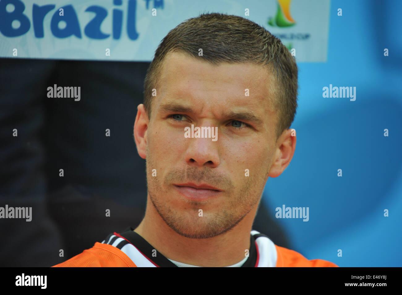 WM 2014, Salvador da Bahia, Lukas Podolski auf der Bank, Deutschland vs. Portugal. Editorial use only. Stock Photo
