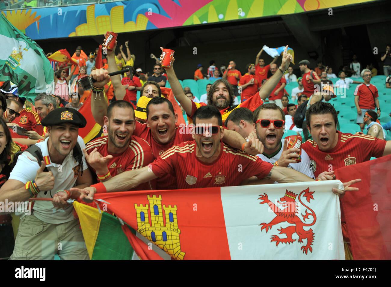 WM 2014, Salvador da Bahia, Holland vs. Spanien, Spanische Fans vor dem Spiel. Editorial use only. Stock Photo