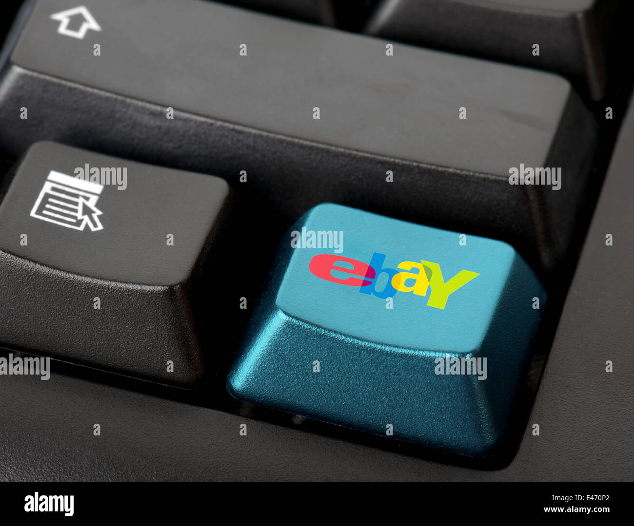 shropshire, uk . june 28th 2014. A button for ebay on the keyboard. Online shop. - Stock Image