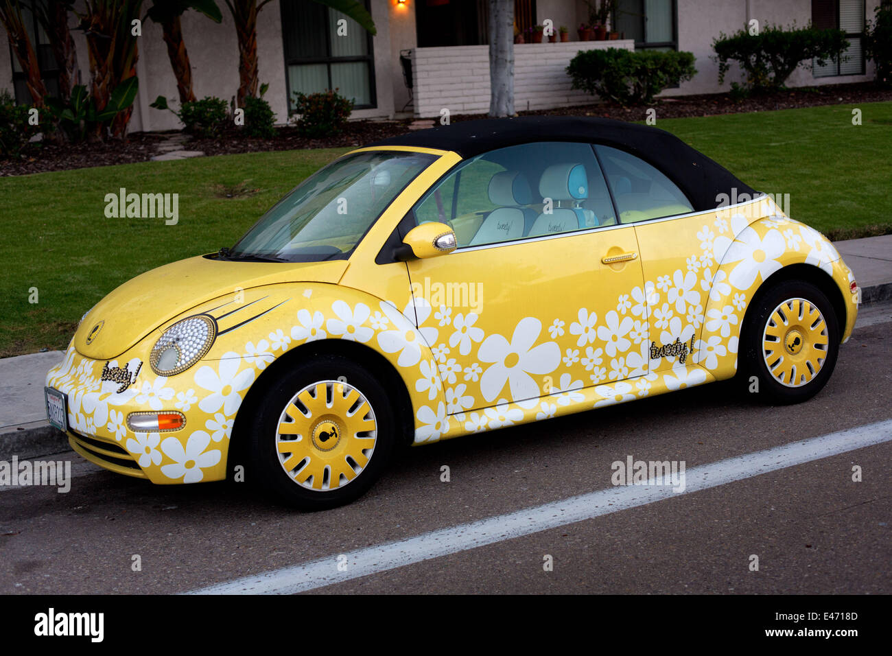 Tweety Version Of A Vw Beetle With Flower Decoration And Stock