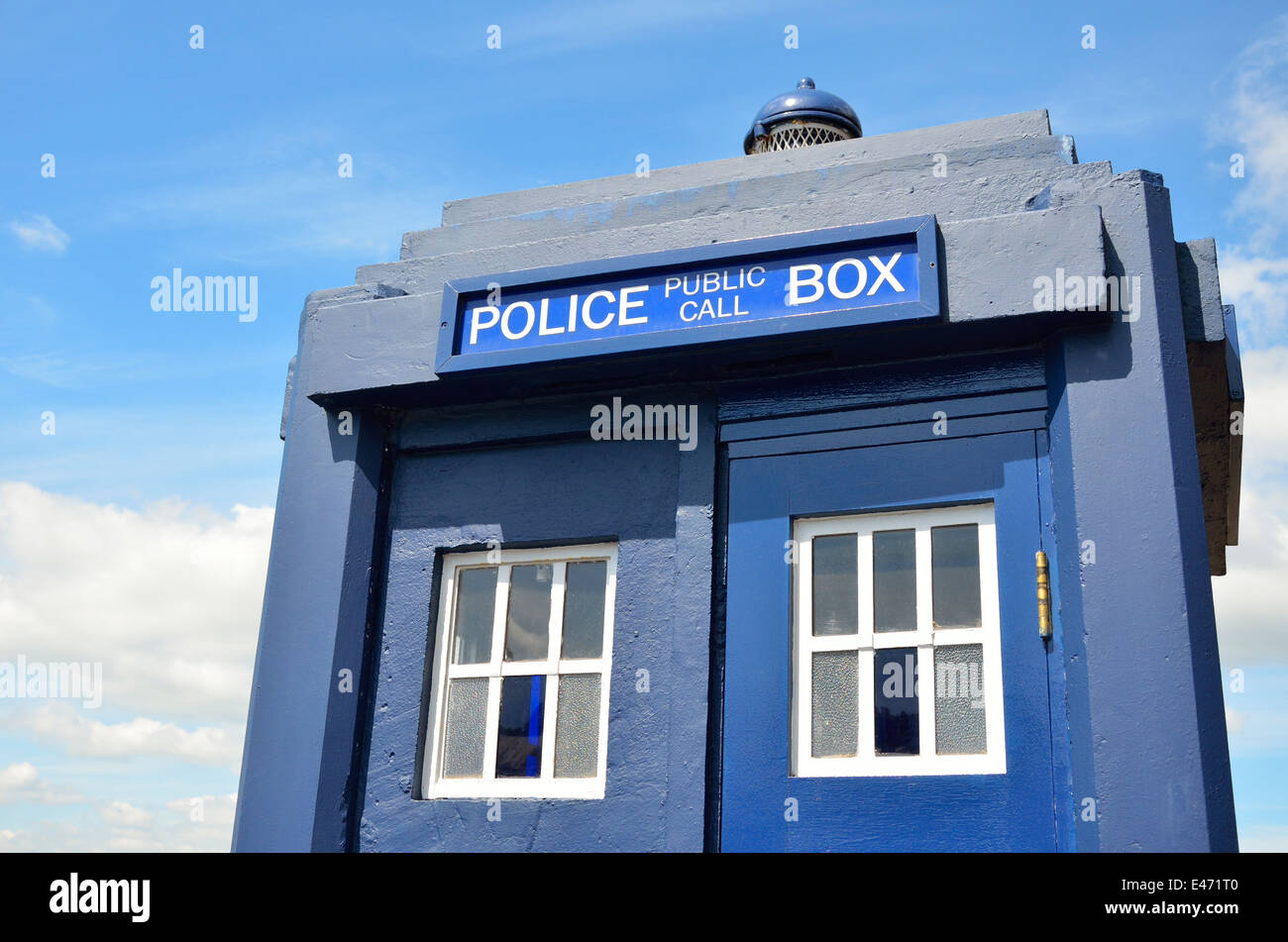 Chatham, Kent, England, UK. Chatham Historic Dockyard - Police Public Call Box ('Tardis') outside the police - Stock Image