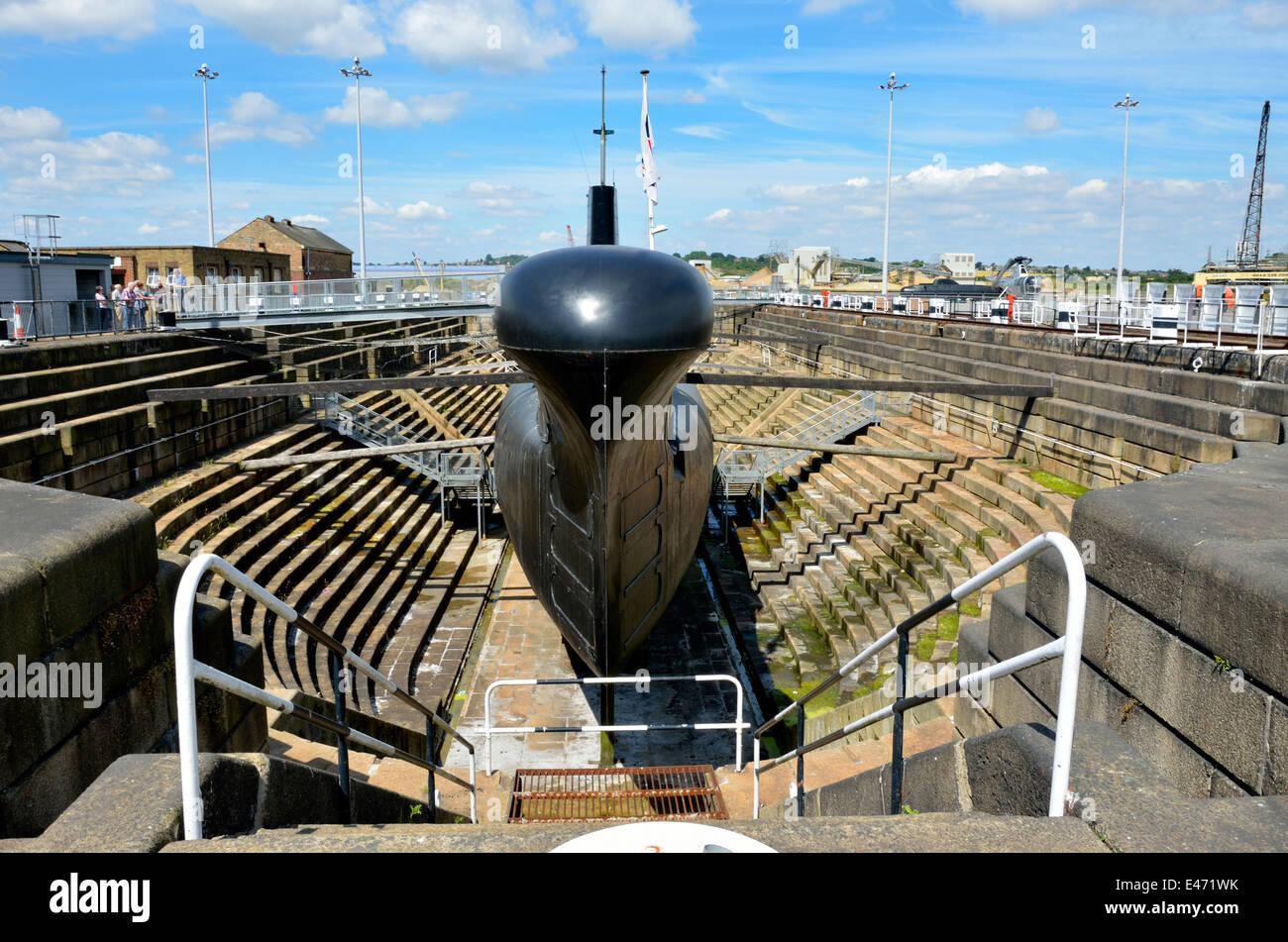 Chatham, Kent, England. Chatham Historic Dockyard. HM Submarine 'Ocelot'  'O' class diesel-electric - Stock Image