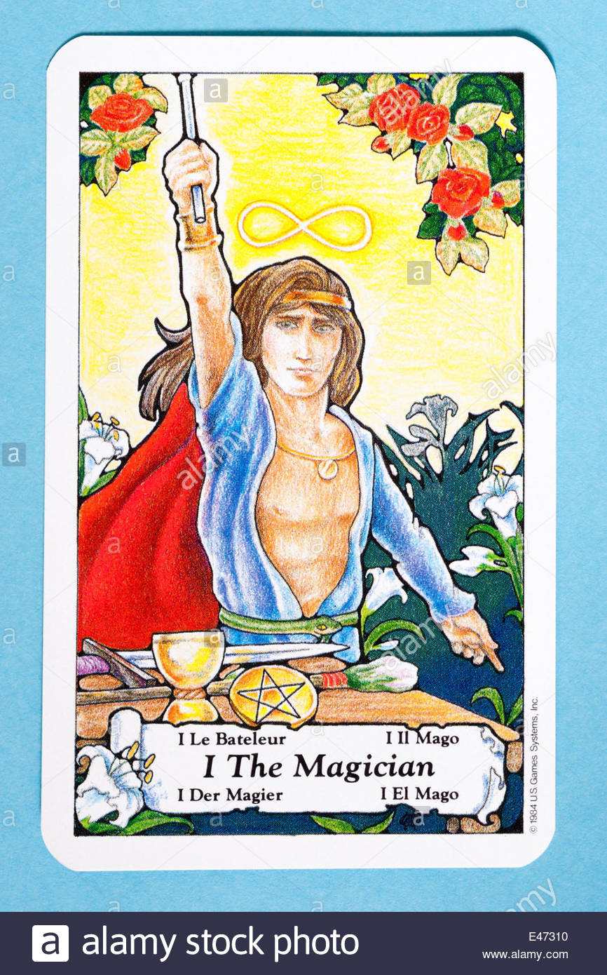 The Magician tarot card from the Hanson Roberts tarot deck Stock