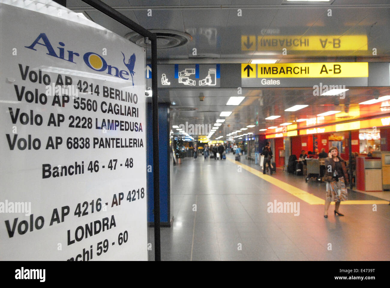 airport of Milan Linate (Italy), timetable - Stock Image