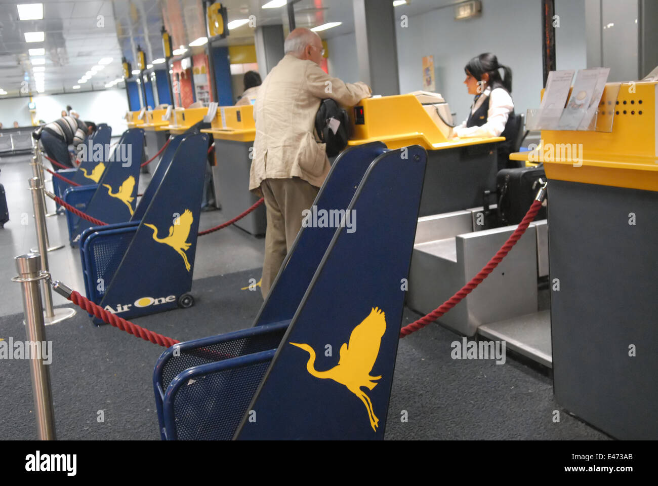 airport of Milan Linate (Italy), check-in of AirOne company - Stock Image