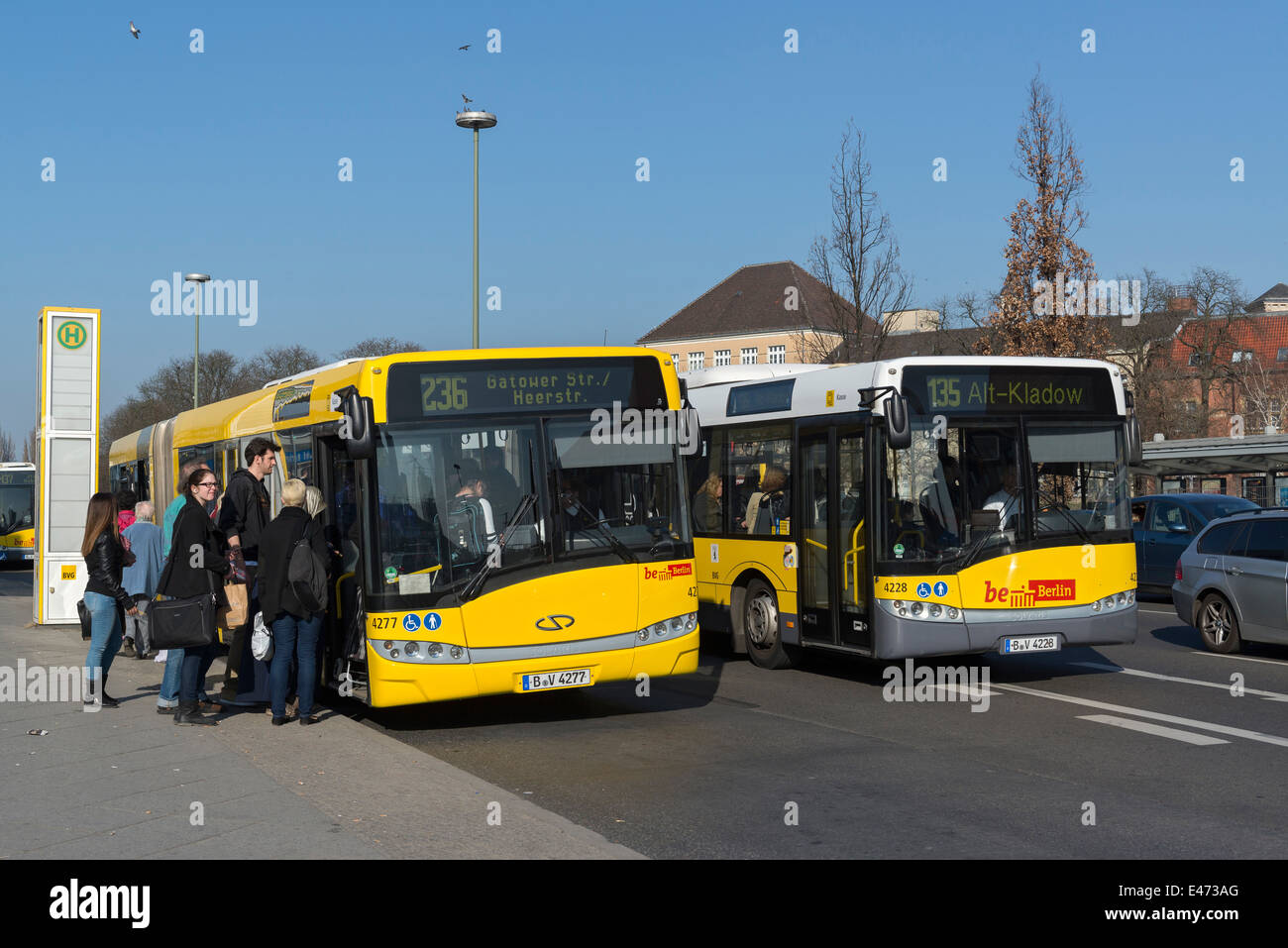 Berlin, Germany, BVG Solaris GN 07 and GN 05 - Stock Image