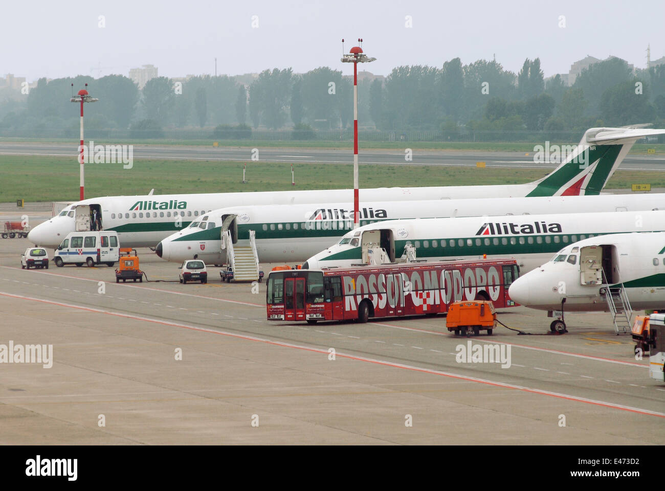 airport of Milan Linate (Italy), Alitalia airliners - Stock Image