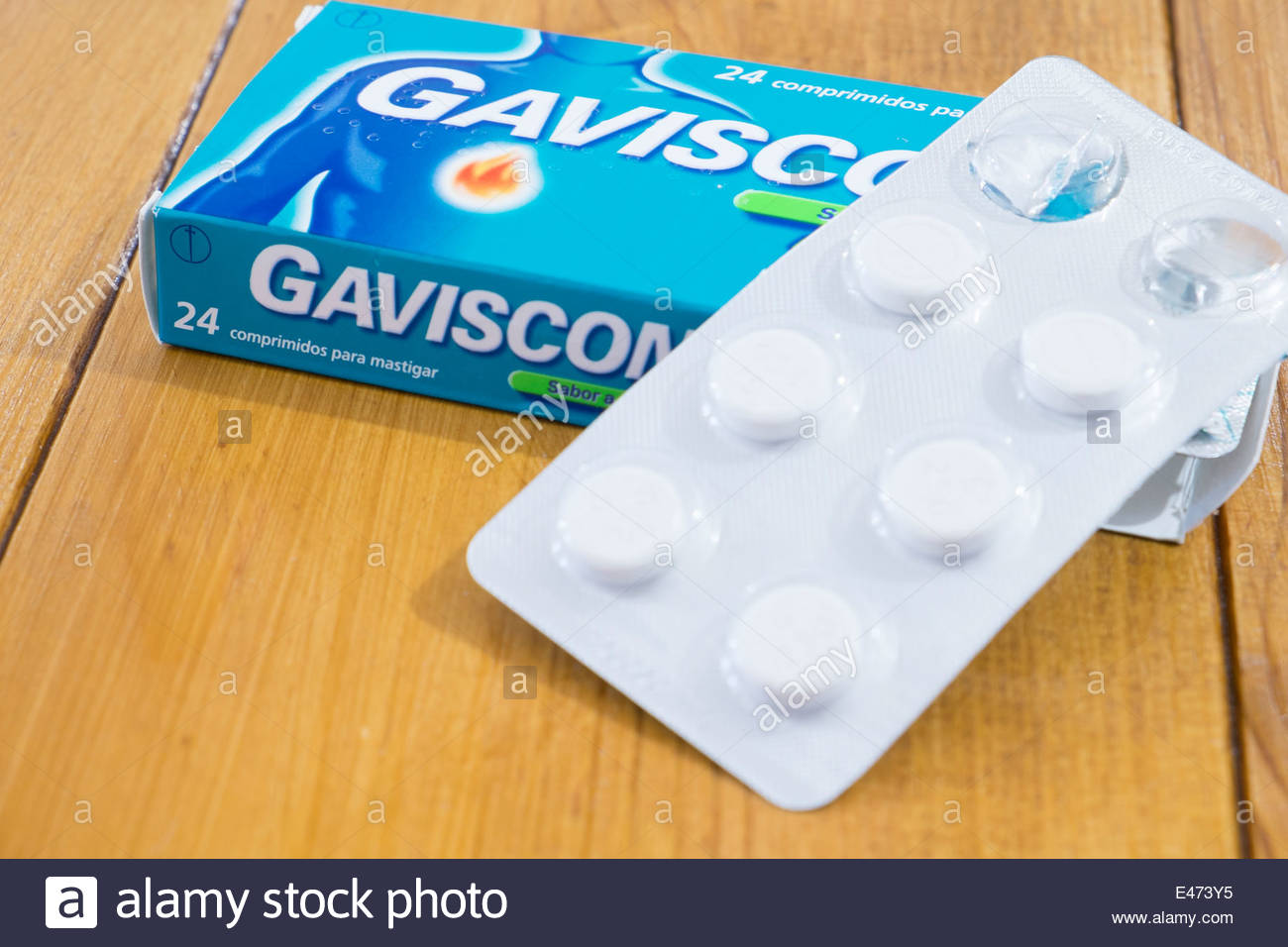 box of Gaviscon antacid relief tablets as sold in Portugal - Stock Image
