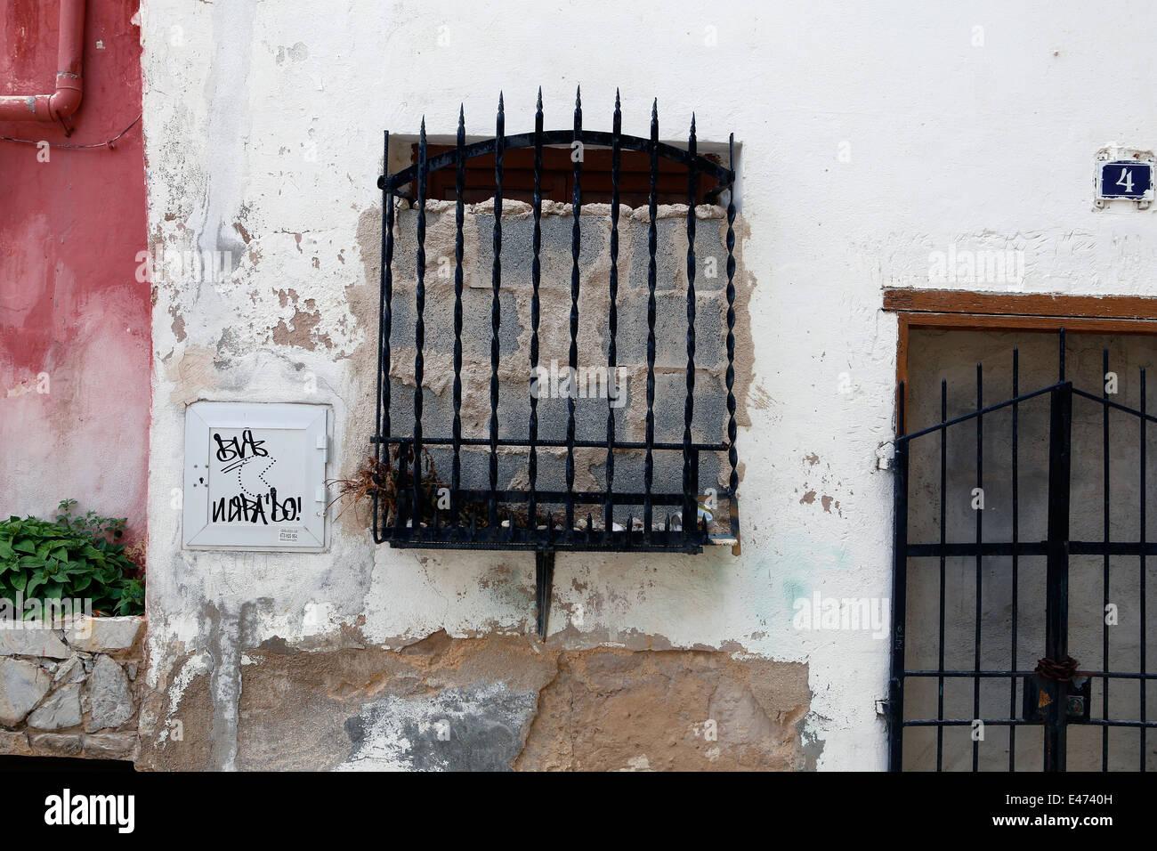 antique walls and persian blinds in palma de majorca spain stock