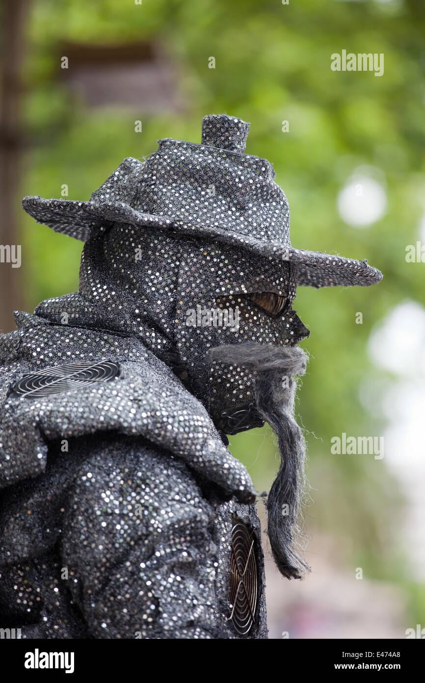 Street mime artist head closeup, acting as Don Quixote on La Rambla in Barcelona, Catalonia, Spain. - Stock Image