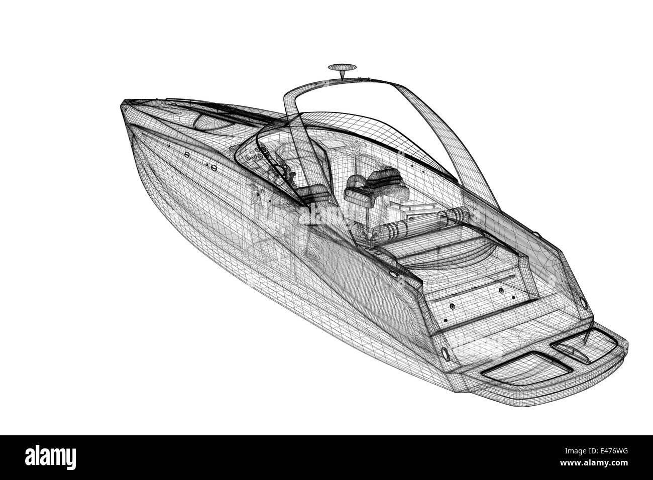 speedboat, Speeding Powerboat,3D model body structure, wire model