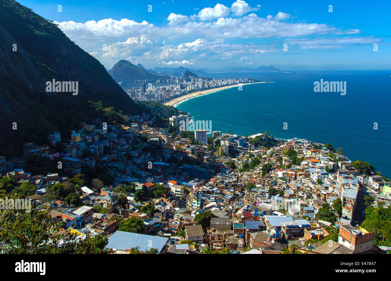 View over the south of Rio de Janeiro From one of the highest point of the favela of Vidigal (Alto Vidigal - Stock Image