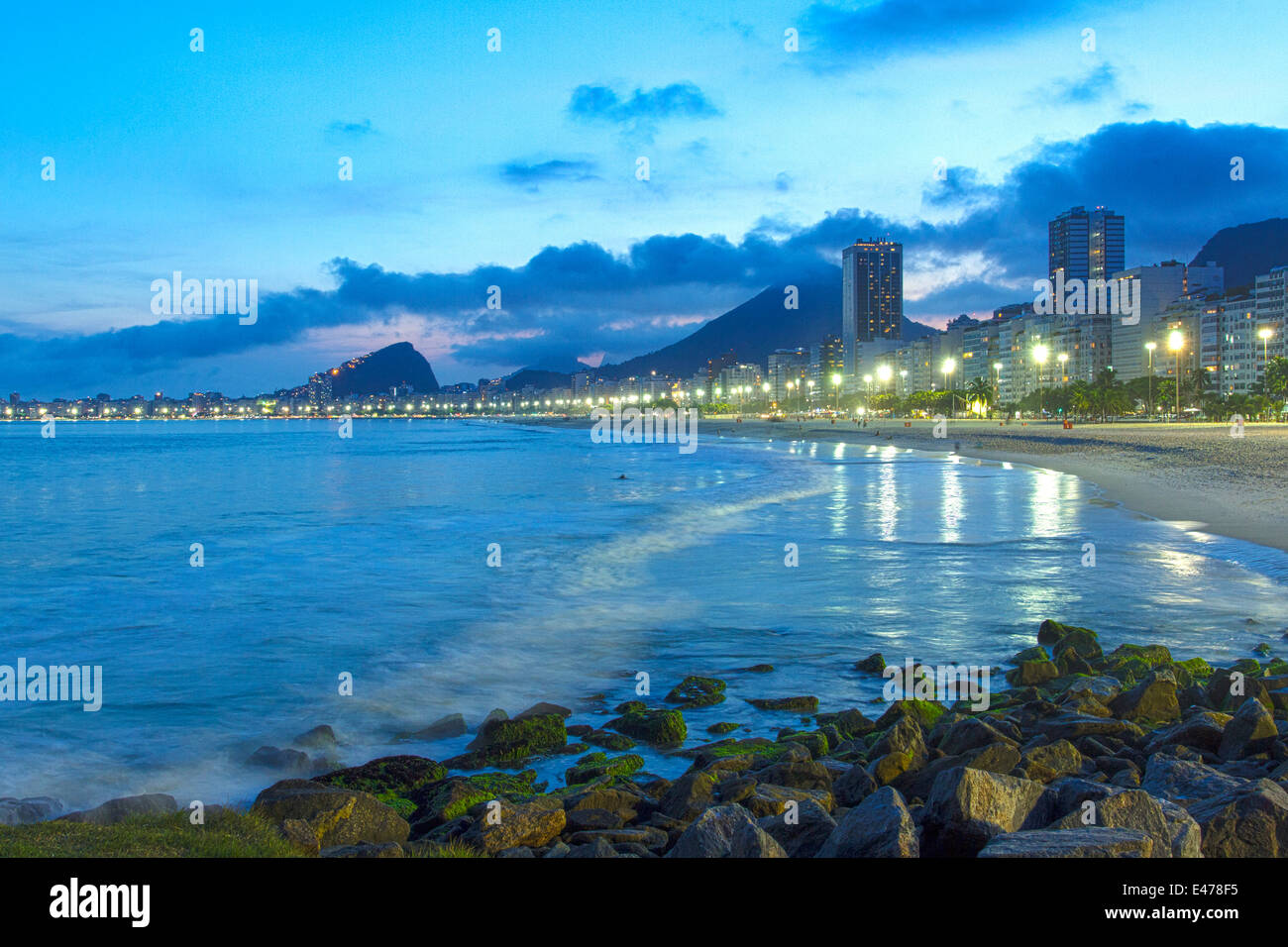 Rio de Janeiro, Brazil. Sunset at Leme beach. In the background, Copacabana. - Stock Image