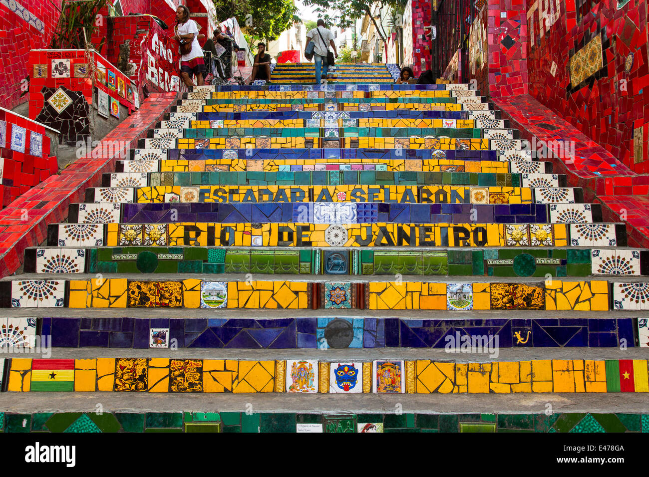 Selaron´s steps at the Lapa neighborhood. The colorful masterpiece of the chilean atist Jorge Selaron - Stock Image
