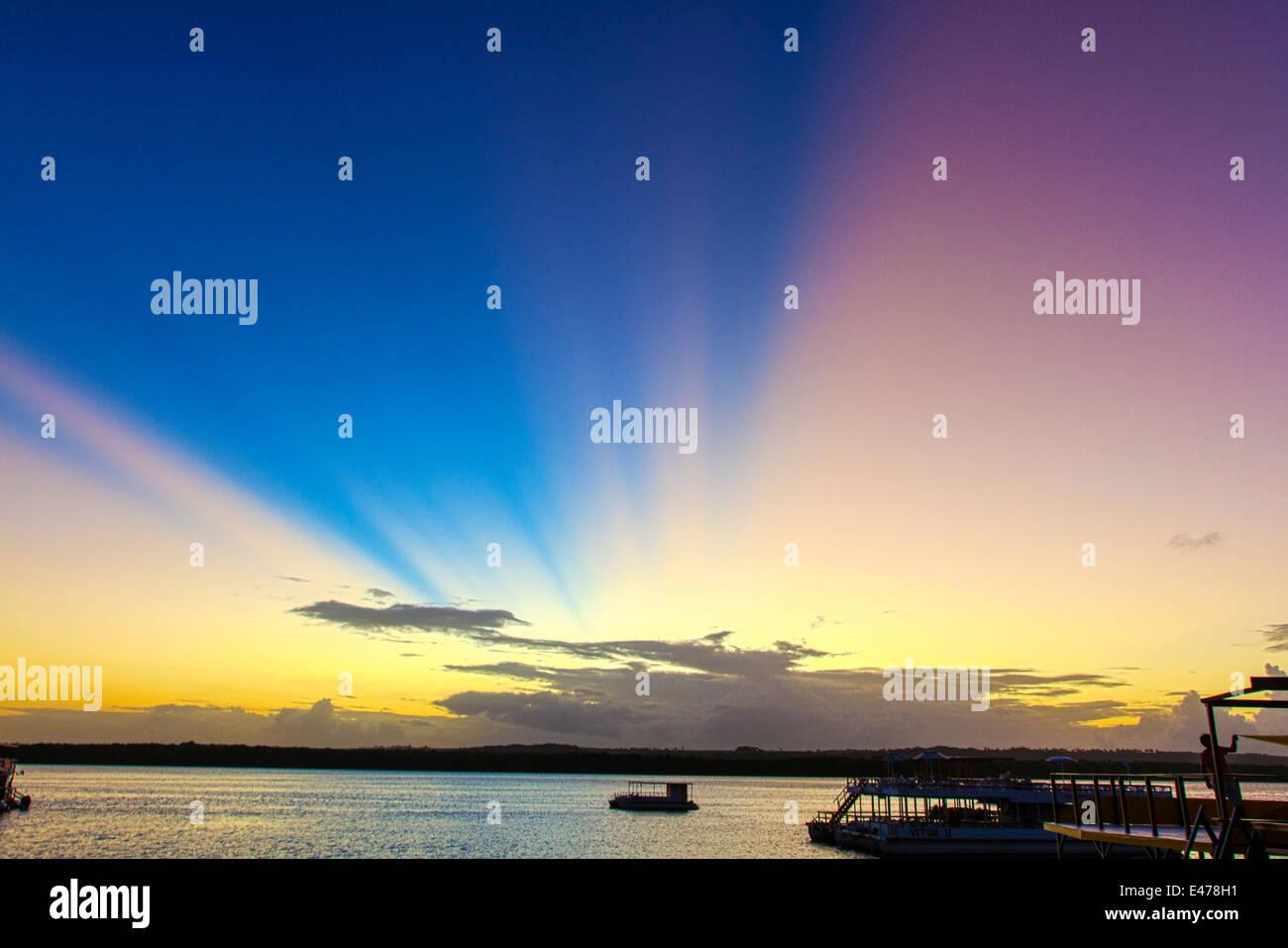 Joao Pessoa, Paraiba, Brazil. Sunset at Praia do Jacaré (Jacare´s beach) is one of the main touristic - Stock Image