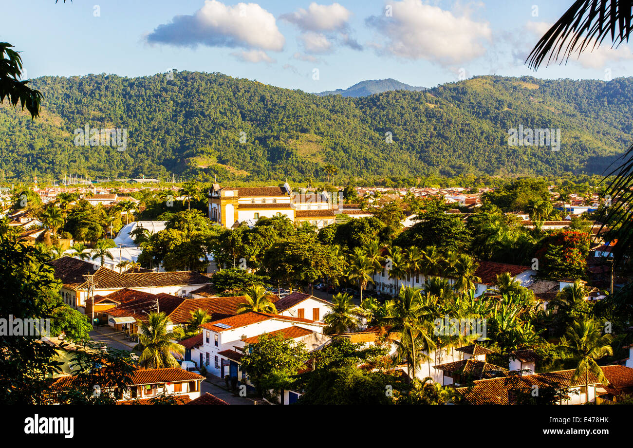 Paraty, Rio de Janeiro, Brazil. Landscape of colonial Paraty. - Stock Image