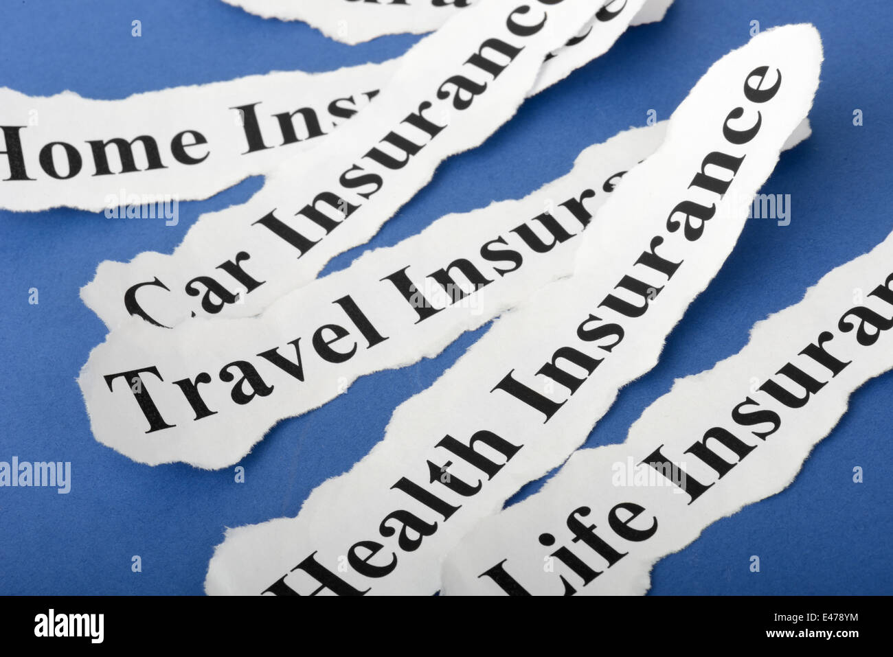 concept Insurance Policy, Life; Health, car, travel, home with blue background - Stock Image