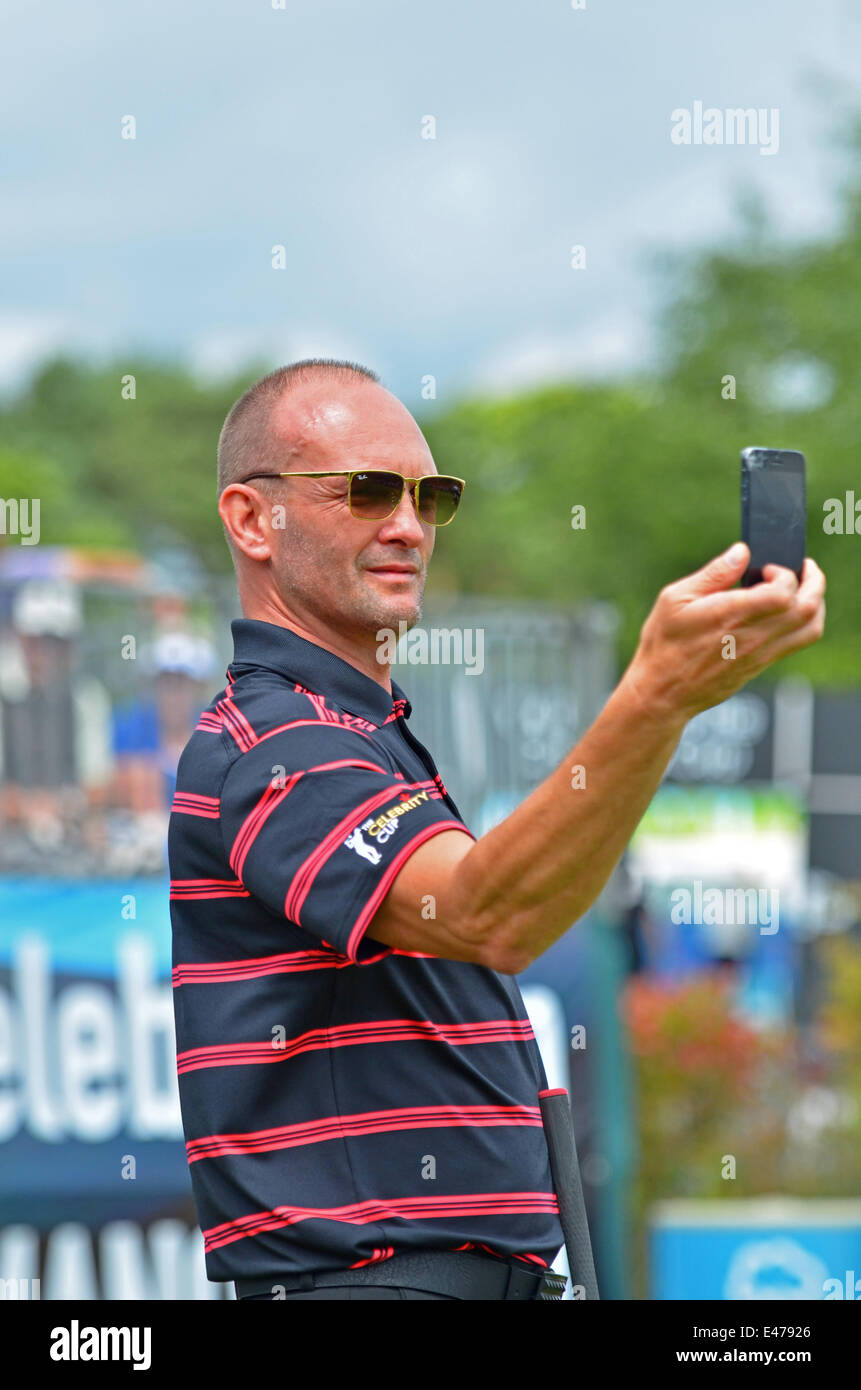 Celtic Manor, UK. 04th July, 2014.  Practice for Celebrities at The Celebrity Cup, Celtic Manor, on the 1st Tee. - Stock Image