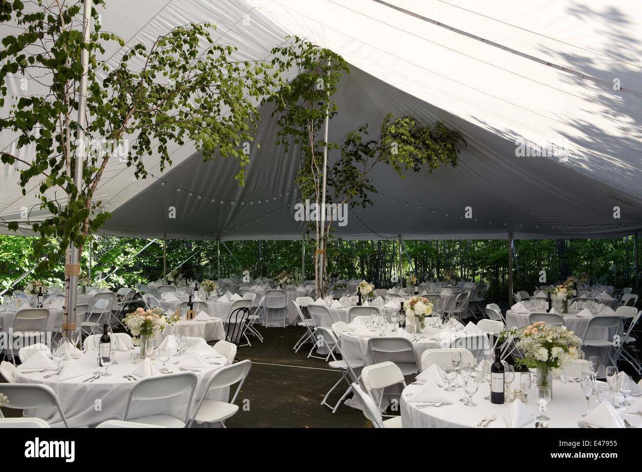 Outdoor Tent Set Up For Wedding Banquet Stock Photo