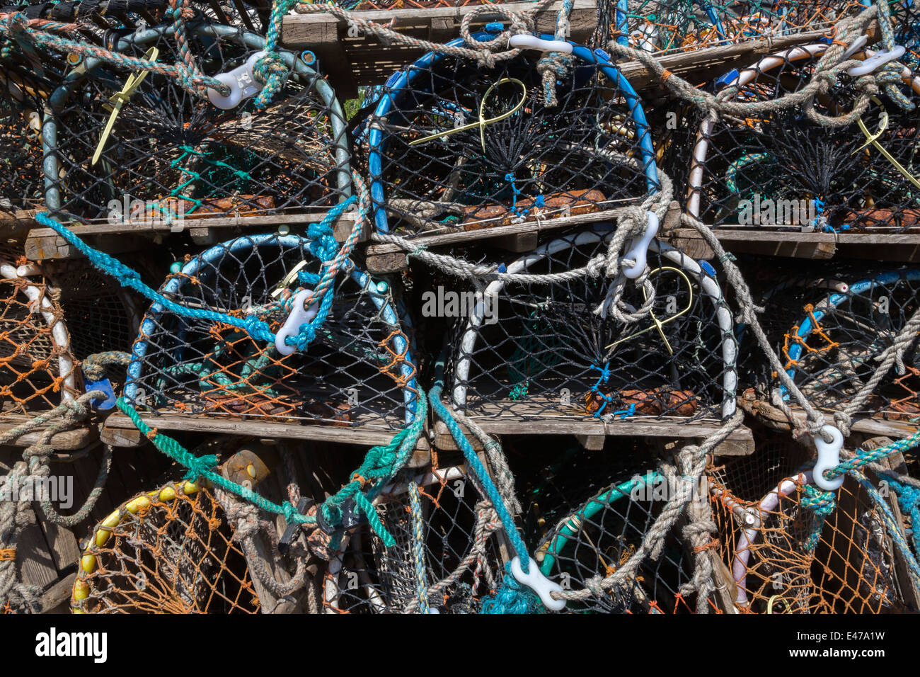 Lobster pots at Seahouses, Northumberland, May 2014 - Stock Image