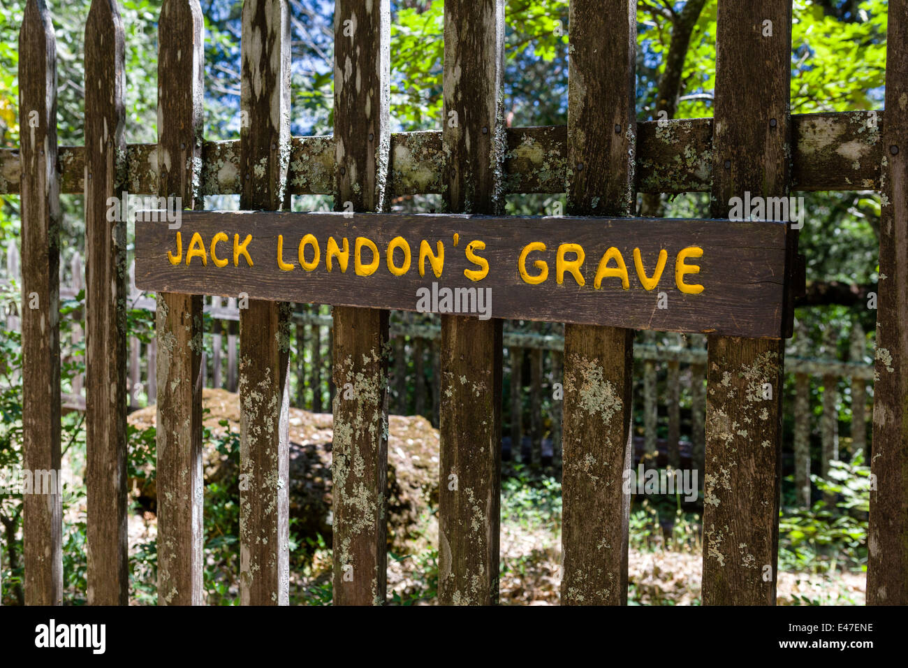 Grave of the writer Jack London, Jack London State Historic Park, Glen Ellen, California, USA - Stock Image
