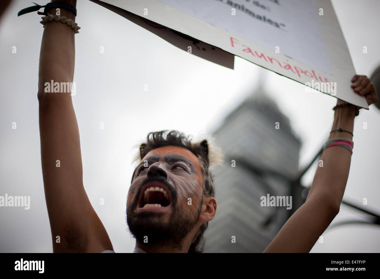 Mexico City, Mexico. 4th July, 2014. A man with his face painted takes part in a protest against the mistreatment - Stock Image