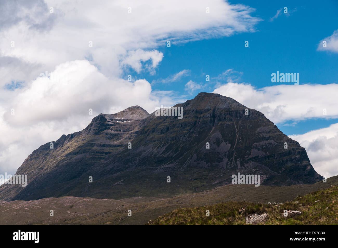 A view of Liathach, pronounced lea-ack, from the A896, Glen Torridon road, Scotland - Stock Image