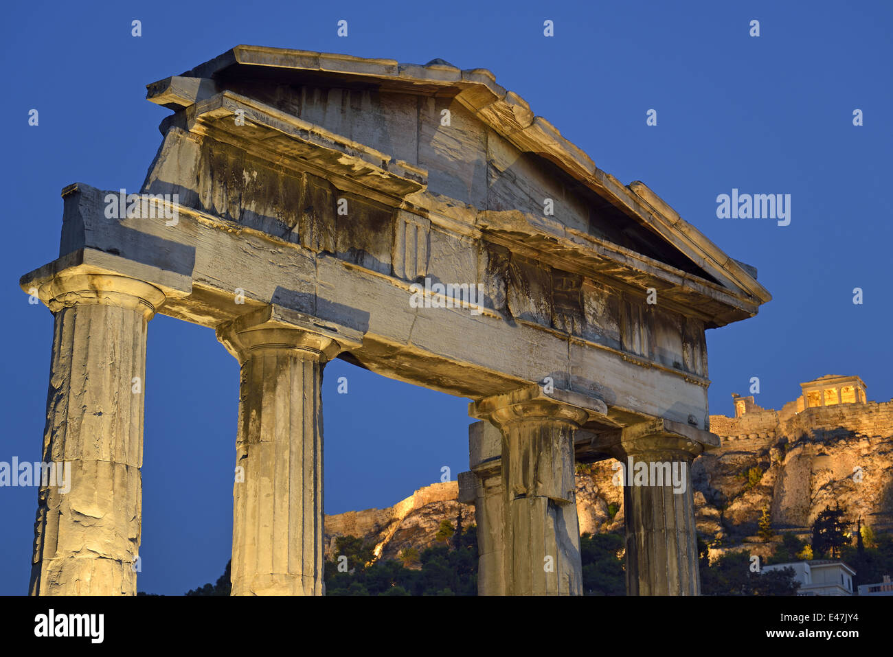 The Gate of Athina Archegetis in Roman Market and Acropolis, Athens, Greece - Stock Image