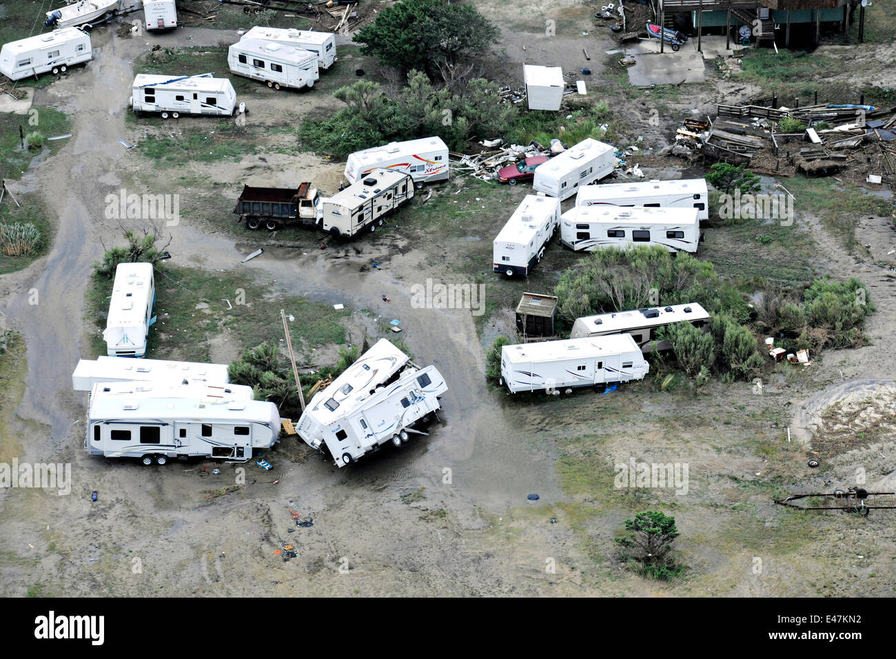 Aerial view of trailer homes thrown around by Hurricane Arthur on the Outer Banks July 4, 2014 in Nags Head, North - Stock Image