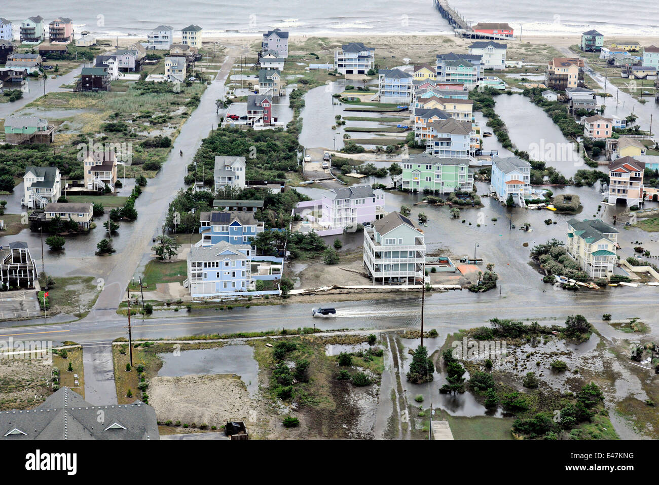 Aerial view of flooding caused by Hurricane Arthur on the Outer Banks July 4, 2014 in Nags Head, North Carolina. - Stock Image