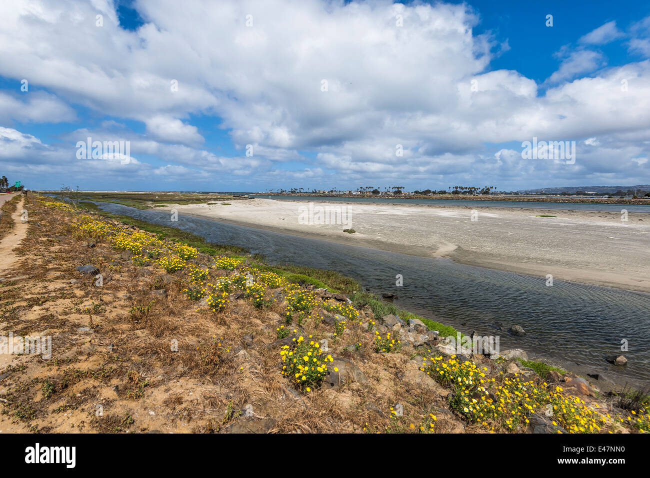 The San Diego River looking towards the ocean. San Diego, California, United States. - Stock Image