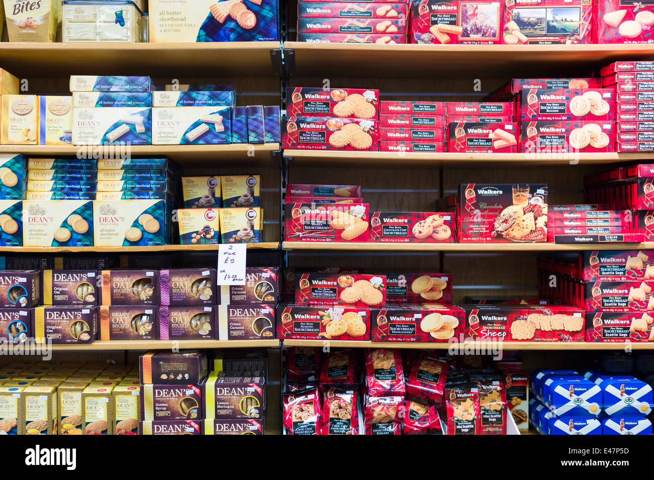 Traditional Scottish food products - shortbread and oat biscuits - for sale in James Pringle Shop, Glasgow, SCOTLAND, Stock Photo