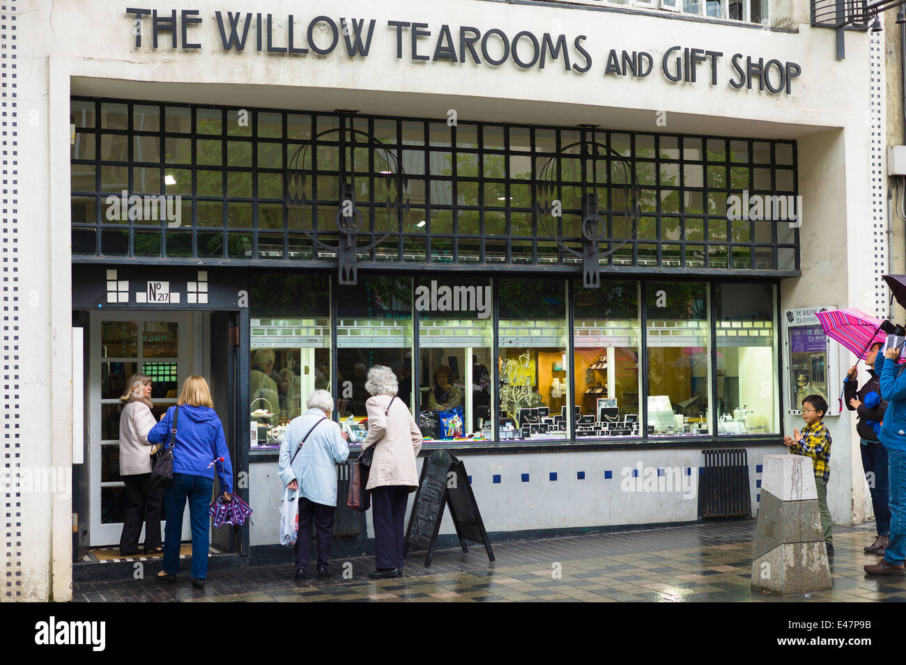 The Willow Tearooms and Gift Shop designed by Charles Rennie Mackintosh in 1903 in Sauciehall Street, Glasgow, SCOTLAND, - Stock Image