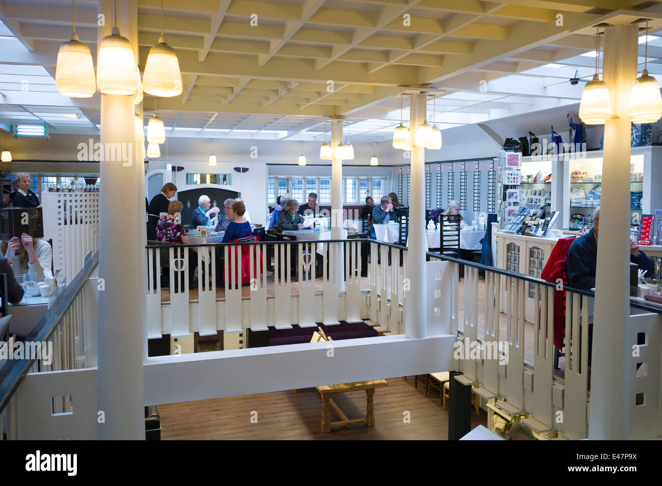 Customers in the Willow Tearooms and Gift Shop designed by Charles Rennie Mackintosh, Sauciehall Street, Glasgow, - Stock Image