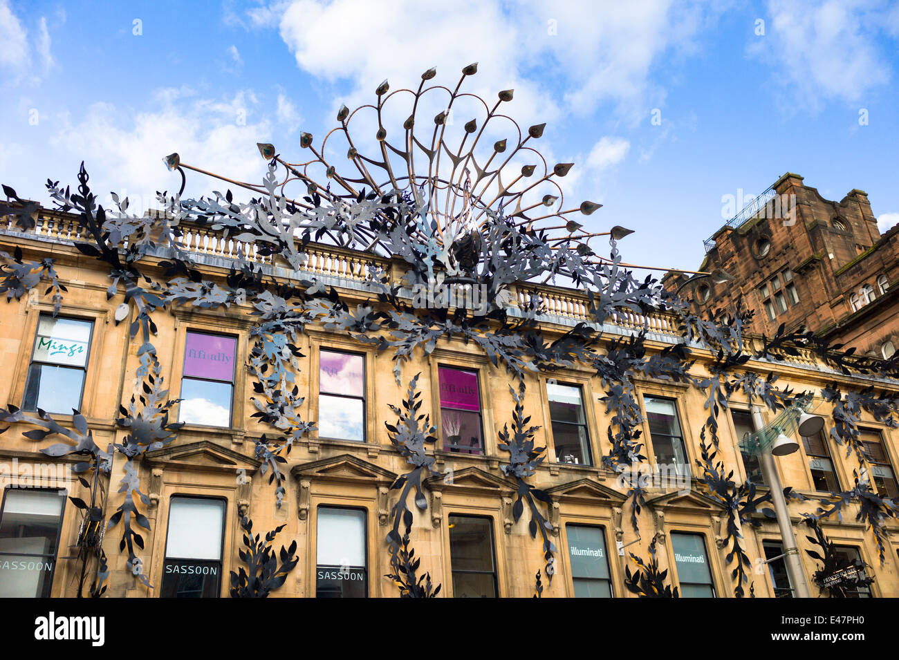 Famous peacock modern art sculpture above Prince's Square Shopping Centre in Buchanan Street, Glasgow City Centre, - Stock Image