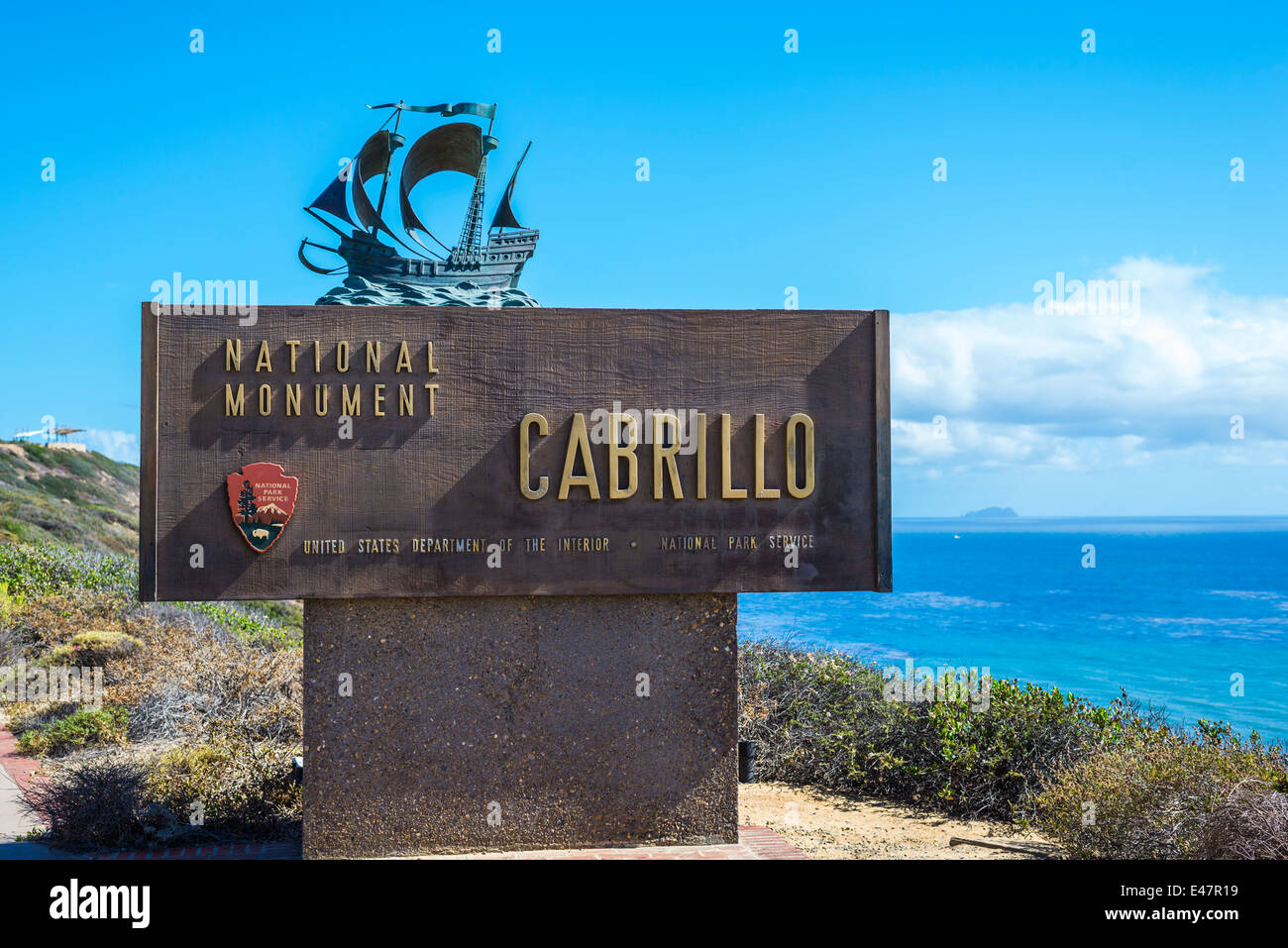 Cabrillo National Monument sign. San Diego, California, United States. - Stock Image