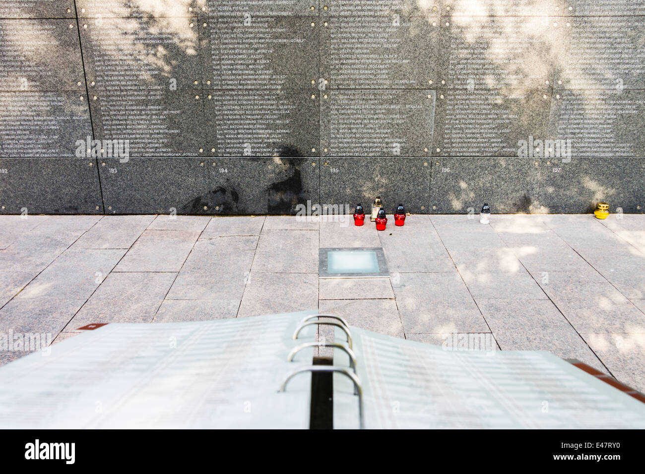Fallen names list. Warsaw uprising museum on Warsaw uprising Remembrance Day. - Stock Image