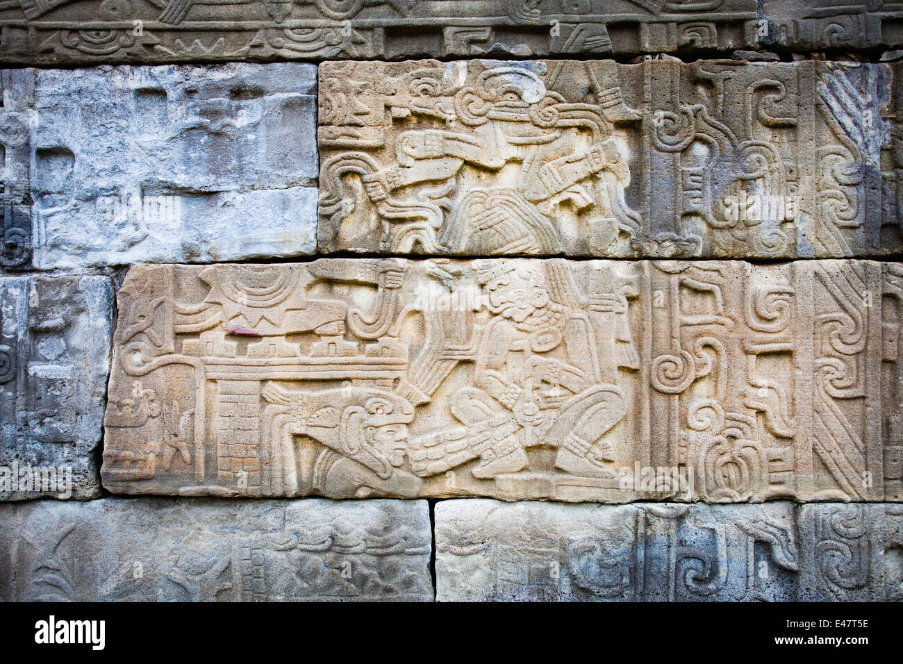 Detail of an engraved mural at the Tajin ruins in Veracruz, Mexico. - Stock Image