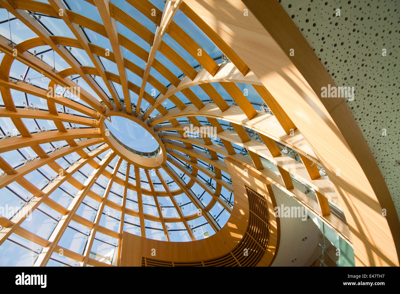 Glass dome on the roof of Liverpool Central Library, Merseyside, UK.  The new restored library opened on 17th May Stock Photo