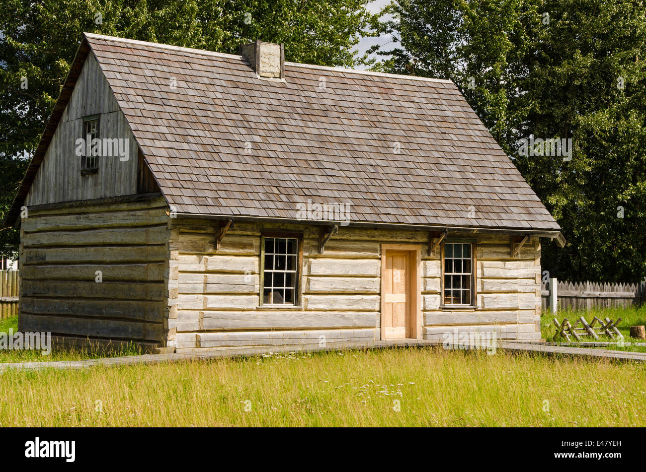 Old Log Cabin House Building At Fort Saint St James National Historic Stock Photo Alamy
