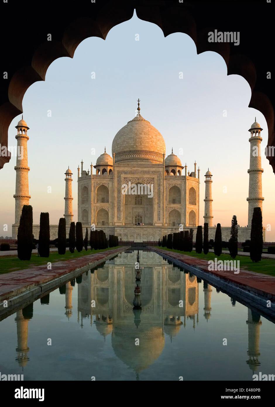 Taj Mahal at Dawn - Agra - India - Stock Image