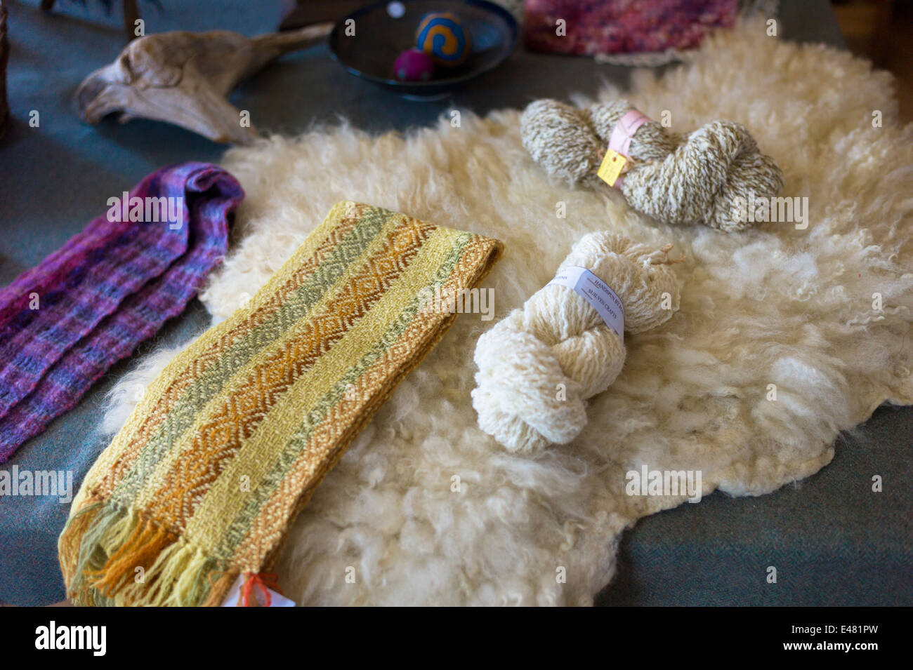 Fleece and skeins of local wool - Lambswool - from Highland sheep at Croft Wools and Weavers in the Highlands of - Stock Image